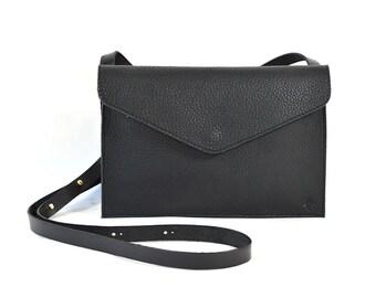 Evette - Handmade Black Leather Shoulder Bag Purse SS18