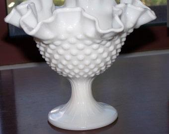 Fenton candy dish, Fenton vase, Fenton bowl, hobnail vase, hobnail bowl, milk glass, vintage Fenton