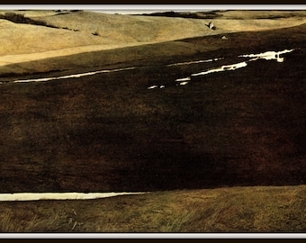 "Huffman's Slough from Andrew Wyeth, Andrew Wyeth print, American Artist, Wyeth Art, Wyeth Art, New England Painting, approx 13"" X 17"" tall."