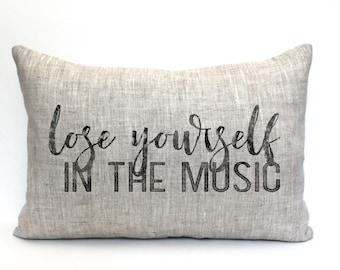 "music teacher gift, music lover, music pillow, music gift, music room decor, music room pillow ""The Lose Yourself"""