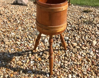 Vintage Wood Firkin Bucket on Legs with Handle Shaker  Banded Wood Slats Sewing Box Plant Stand Magazine Rack Plant Barrel