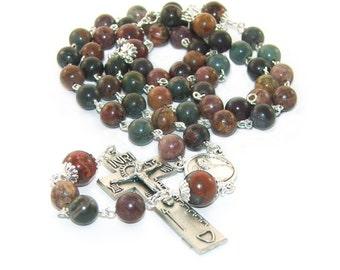 Catholic Man's Rosary, Irish Penal Crucifix, Pope Francis Center with Natural Jasper Beads