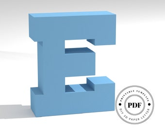 Printable DIY template (PDF).  Letter E low poly paper model template. 3D paper lettering. Origami. Papercraft. Cardboard alphabet.