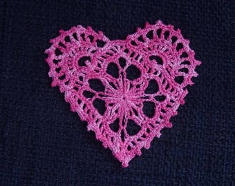 Red or pink heart crocheted cotton red or pink