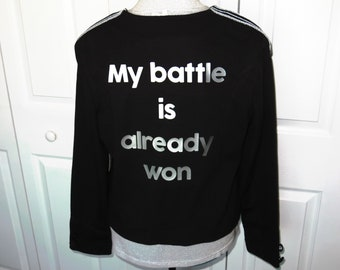 "NWT Black & Silver ""My Battle"" Military Band Jacket - Size Large ... Christian Fashion, Jesus, God, Renew Your Mind, Transform, mix, Blazer"
