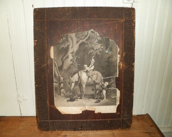 Antique Engraving Pyrography Frame 1800's EB Bensell