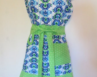 Blue/Green Print Full Apron