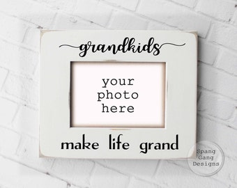 Grandkids Make Life Grand | Gift for Grandparents | personalized gift | Grandparents picture frame | Christmas gift for Grandparents | G02