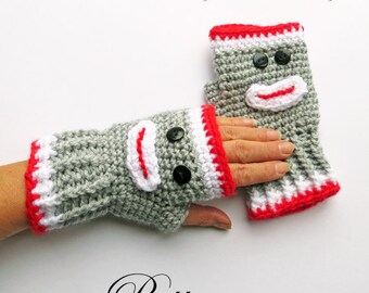 Sock Monkey Fingerless Gloves Crochet PATTERN / Texting Mitts / Arm Warmers / PDF Pattern Instant Download / Made in Canada