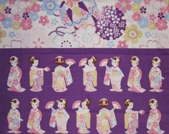 Kawaii Fabric Square Japanese Furoshiki 'Maiko Apprentice Geisha Dance on Purple' Cotton 50cm w/Free Insured Shipping