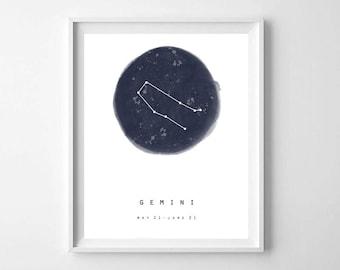 Gemini Zodiac Sign Print, Printable Art, Minimalist Zodiac Wall Art, Astrology Print, Constellation Print, Nursery Decor, Kids Room Decor