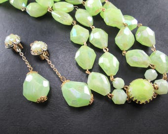 Vintage West Germany Opalescent Green Beaded Jewelry Set Gold Tn Necklace & Dangle Earrings Mid Century 50s