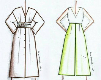 Special offer. Duster-Dress + Jupe-Culottes patterns.-