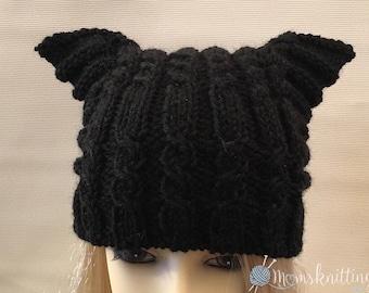 READY TO SHIP>>> Black Cat, White Beanie Cat Ear Hat Knit Pussy Cat, Black Pussyhat Project, Women's March Hat, Pussycat Hat, Feminist Hat