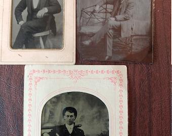Sharp Dressed Man:  Lot of 3 Antique Tintype Photographs of  Well Dressed Gentlemen