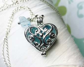 Worry Locket - aquamarine heart locket / heart locket / march necklace / aquamarine necklace / aquamarine locket / living locket