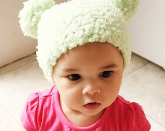 6 to 12m Green Baby Pom Pom Hat Crochet Pom Pom Beanie Crochet Baby Hat Lime Green Pom Pom Photo Prop Photo Prop