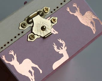 Pink Stag in a heart gift box