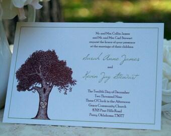 Carved Initials . . . Custom Tree Wedding Invitations
