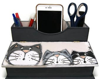 Office organizer with three cats - Phone holder and pencil box - Glasses box