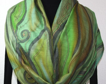 Hand Painted Silk-Wool Scarf. Sage Green Terracotta Handmade Silk Wool Scarf. COLORADO SONG 14x68. Birthday Gift. Hand Dyed. Gift Wrapped.