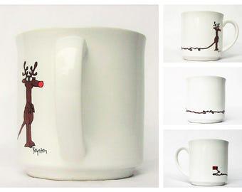 "Vintage Sandra Boynton Christmas Holiday Mug - Rudolph Red Nose Reindeer Plugged-In, Recycled Paper Products Santa's Reindeer / Deers 3 1/2"""