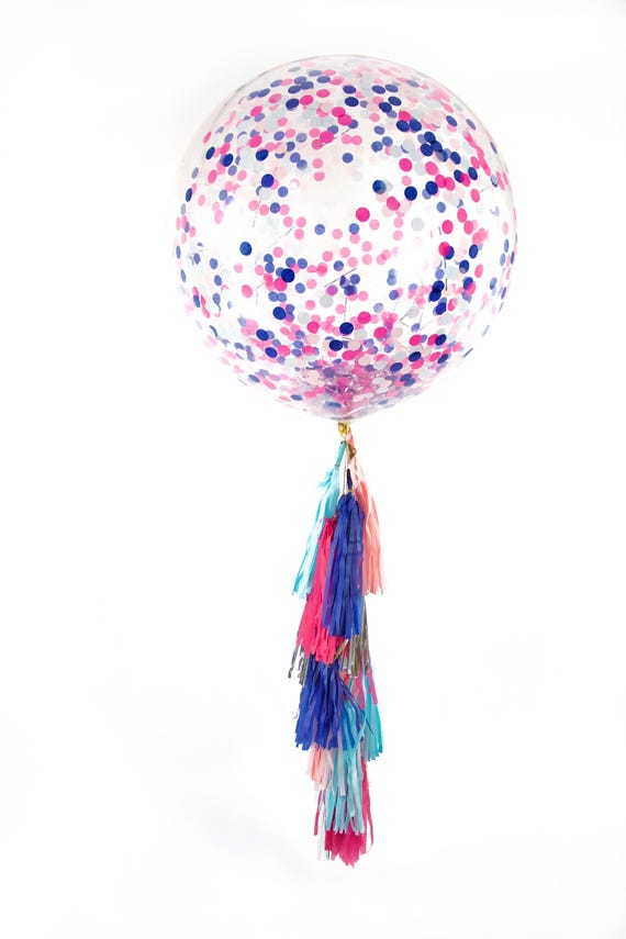 "36"" Gender Reveal Balloon, Giant Clear Balloon, Confetti Balloon, Tassel Balloon, Baby Shower Decor Gender Reveal Balloon Blue Boy Pink Girl"