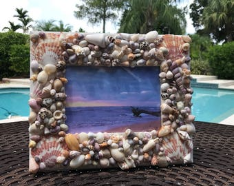 Handcrafted coastal seashell picture frame