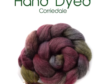 Hand Dyed Natural Grey Corriedale - 100g/3.5oz - grey - wine - green - lavender - mauve