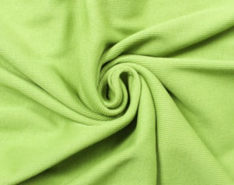 Apple Green Rib Knit Heavy-Weight Cotton Fabric by the Yard