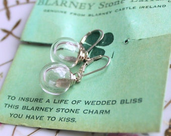 A Kiss For Bliss - Vintage Blarney Stone Charm Earrings