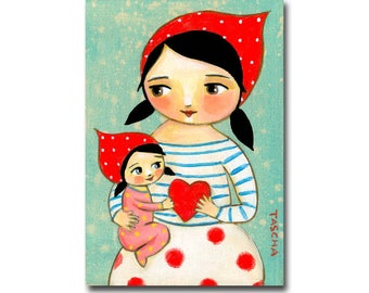 Mother and Daughter original painting Sweet Momma and Baby Girl love nursery decor Mother's day gift MOM and Baby by Tascha
