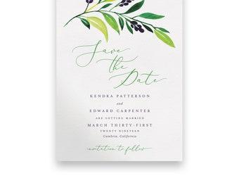 Greenery Wedding Save the Date/Wedding STD/Wedding Save The Dates/Save-The-Date/Foliage/Green/Floral/Greenery Invitation/Purple/Yellow