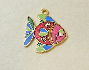 Vintage Aviva Charm Cartoon Fish  Enamel Cloisonne 19-1