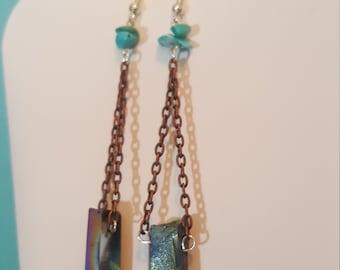 Rainbow crystal chandelier earrings.
