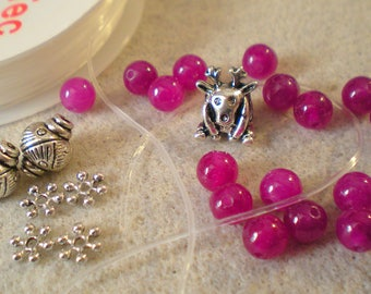 Kit with deer hand made fuschia agate BRACELET