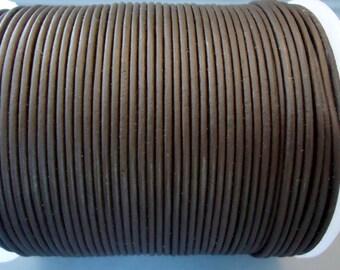 2mm Dark Brown  leather cord - 20 yards