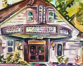 Eagle Theatre Original Art - Watercolor Painting of a Theater in New Jersey - NJ Arts - Plein Air Painting by Jen Tracy