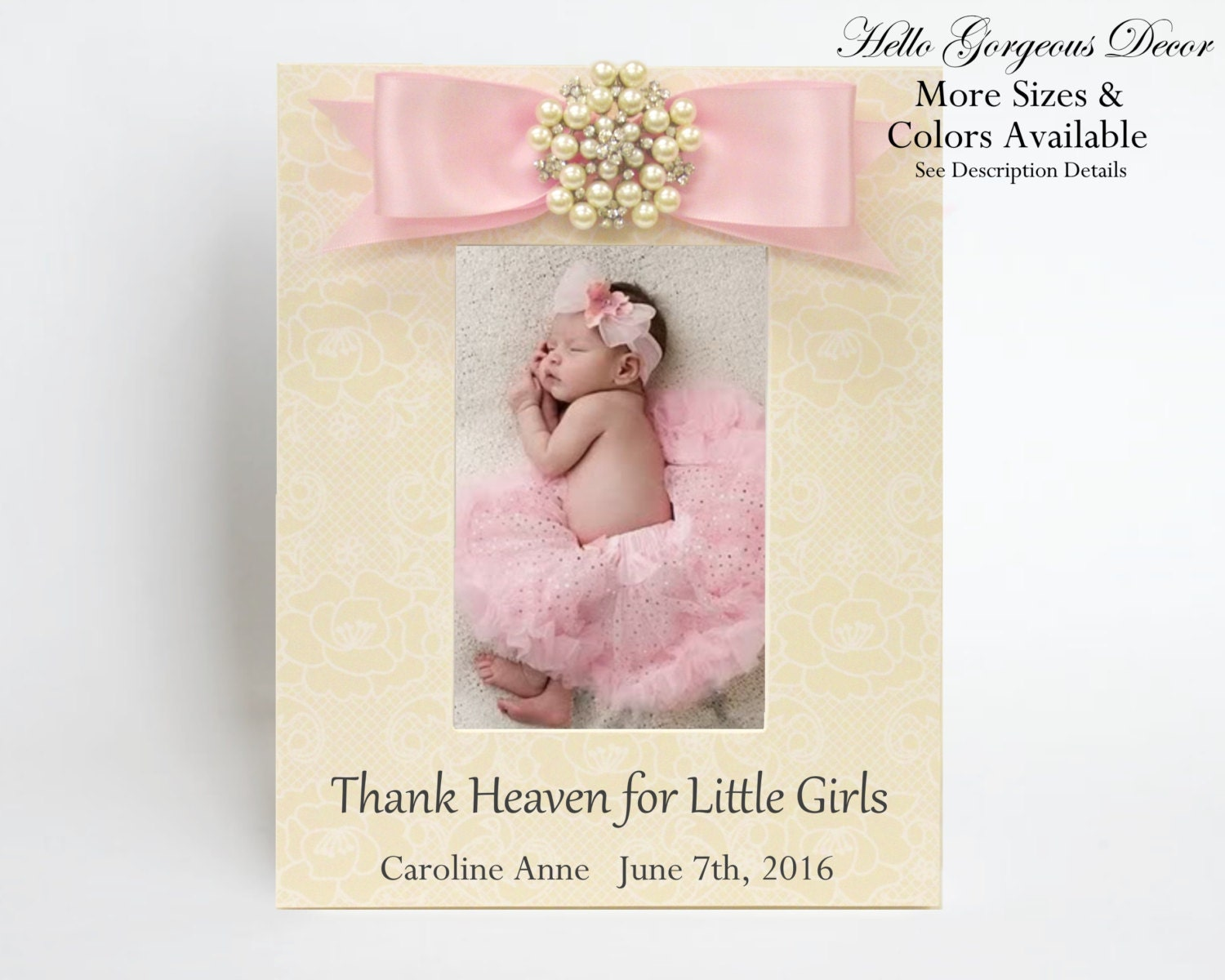 Baby Picture Frame Gift For New Baby Girl Personalized Baby Shower Gift  Newborn Photo Frame Pink Girl Nursery Decor Push Present Gift Ideas From ...