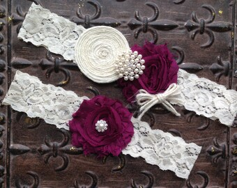 Wedding Garter, Burlap Wedding Garter, Plum Wedding Garter, Plum Bridal Garter, Burlap Bridal Garter, Ivory Plum Garter, Lace Garter Set