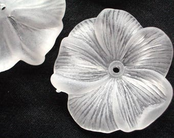 1 Piece 25mm Frost White Hibiscus Flower Lucite Flower Beads Plastic Flower Beads