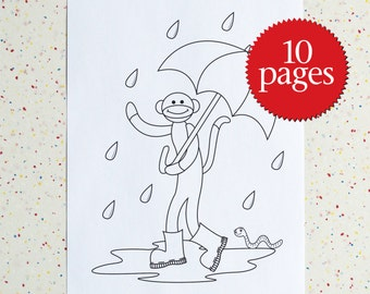 Colouring Pages, Sock Monkeying Around, Printable pdf, Coloring Book, Instant Download, Children's Art