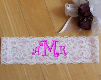 Monogram Garters, Personalized Garter. Lace Garters, Standard Size, Plus Size, Petite Size Garters. You're Next garters. GS0
