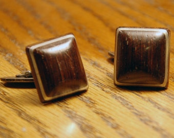 Genuine Vintage 1960s era rosewood and silver cufflinks -- Free Shipping