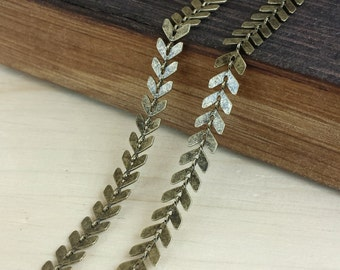 6.5mm Chevron Chain - 1 or 3 feet - Soldered Links - Antique Brass finish - Nickel Free