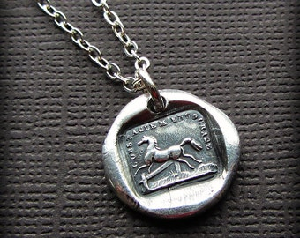 Horse Wax Seal Necklace I'm Encouraged by Obstacles - Silver Horse Necklace - Equestrian Necklace - Rise to the Occasion - FS615