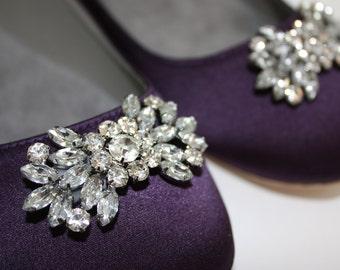 Wedding Flats - Flat Wedding Shoes - 14 Color Choices- Swarovski Sparkling Crystal - Ballet Flats- Purple Flats - Bridal Flat Shoes