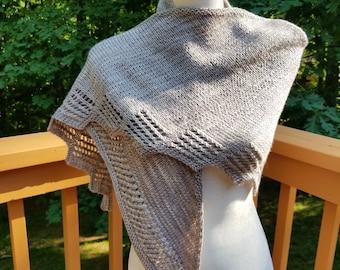 Hand knit long gray shawl in 100% merino wool