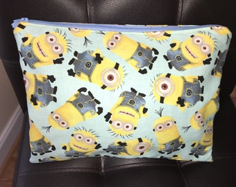 Minions homemade quilted zipper pouch