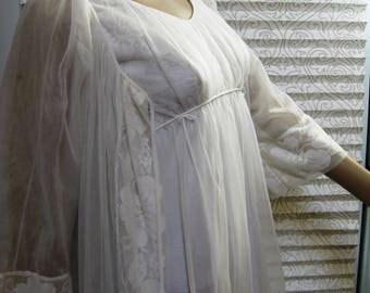 MISS ELAINE Peignoir Set, Vintage 2-Piece Robe & Nightgown, Double Nylon and Lace, 1950s – 1960s, Bridal Peignoir Set, Fabulously Feminine!